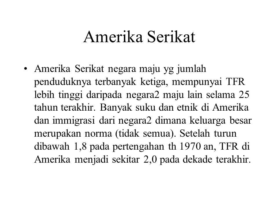 Amerika Serikat Amerika Serikat negara maju yg jumlah penduduknya terbanyak ketiga, mempunyai TFR lebih tinggi daripada negara2 maju lain selama 25 ta