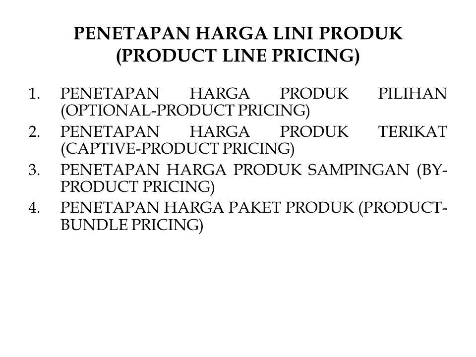 PENETAPAN HARGA LINI PRODUK (PRODUCT LINE PRICING) 1.PENETAPAN HARGA PRODUK PILIHAN (OPTIONAL-PRODUCT PRICING) 2.PENETAPAN HARGA PRODUK TERIKAT (CAPTI
