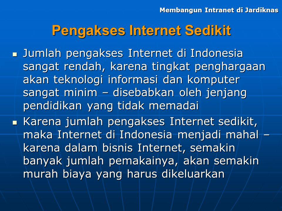 Pengakses Internet Sedikit Jumlah pengakses Internet di Indonesia sangat rendah, karena tingkat penghargaan akan teknologi informasi dan komputer sang