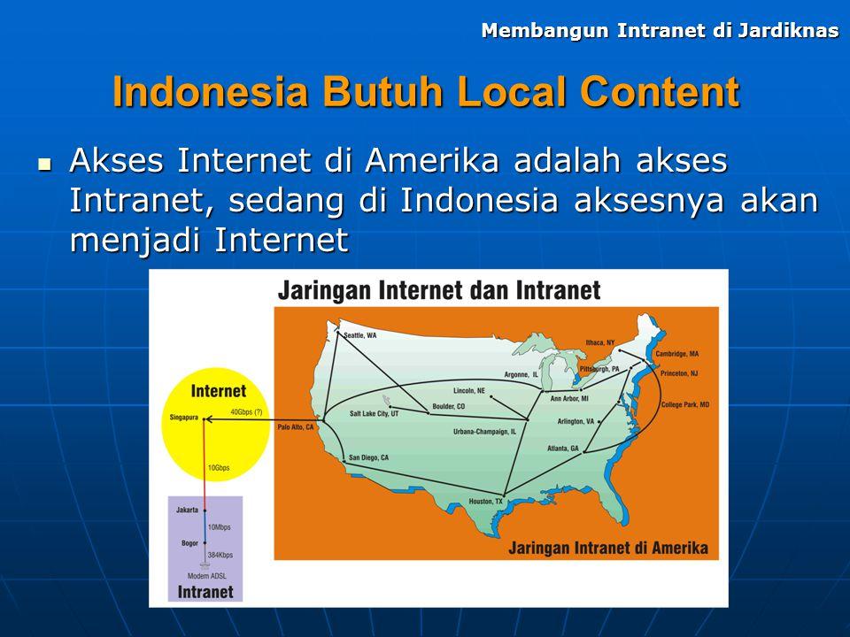 Indonesia Butuh Local Content Akses Internet di Amerika adalah akses Intranet, sedang di Indonesia aksesnya akan menjadi Internet Akses Internet di Am