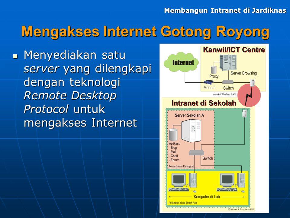Mengakses Internet Gotong Royong Menyediakan satu server yang dilengkapi dengan teknologi Remote Desktop Protocol untuk mengakses Internet Menyediakan