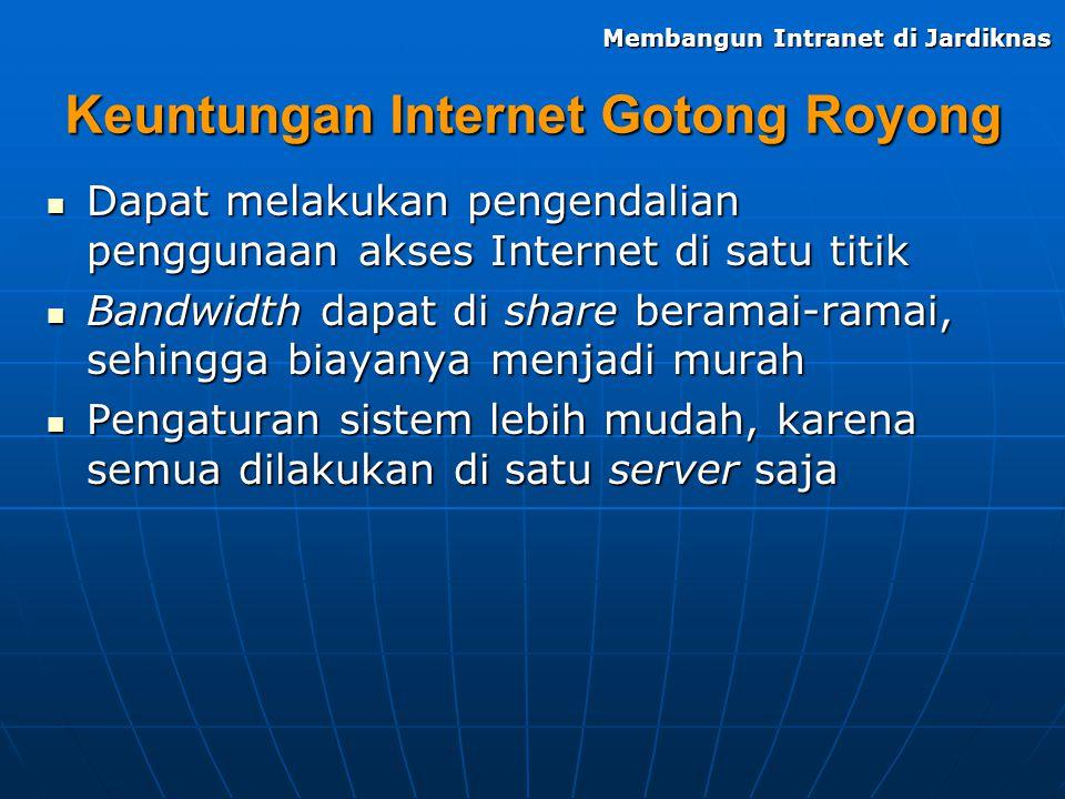 Keuntungan Internet Gotong Royong Dapat melakukan pengendalian penggunaan akses Internet di satu titik Dapat melakukan pengendalian penggunaan akses I