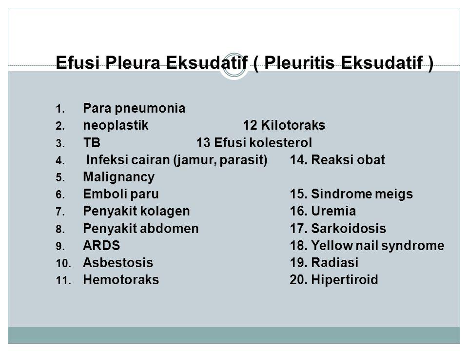 Efusi Pleura Eksudatif ( Pleuritis Eksudatif ) 1.Para pneumonia 2.