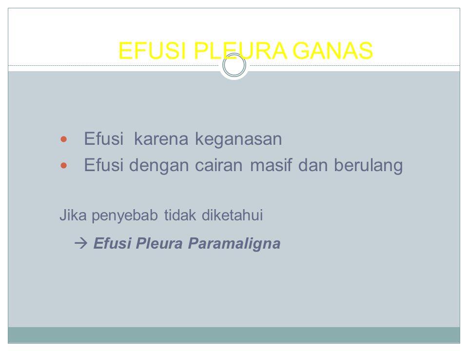 EFUSI PLEURA GANAS Efusi karena keganasan Efusi dengan cairan masif dan berulang Jika penyebab tidak diketahui  Efusi Pleura Paramaligna