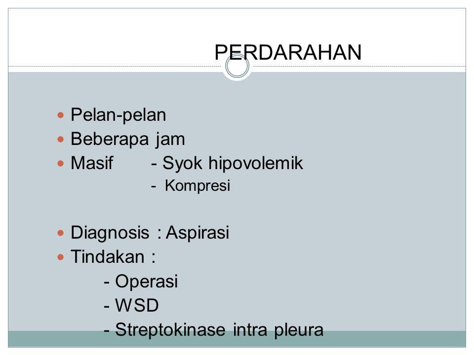 PERDARAHAN Pelan-pelan Beberapa jam Masif- Syok hipovolemik - Kompresi Diagnosis : Aspirasi Tindakan : - Operasi - WSD - Streptokinase intra pleura