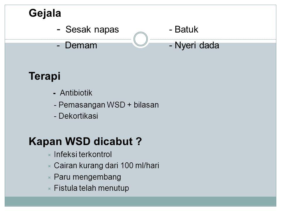 Gejala - Sesak napas- Batuk - Demam- Nyeri dada Terapi - Antibiotik - Pemasangan WSD + bilasan - Dekortikasi Kapan WSD dicabut .