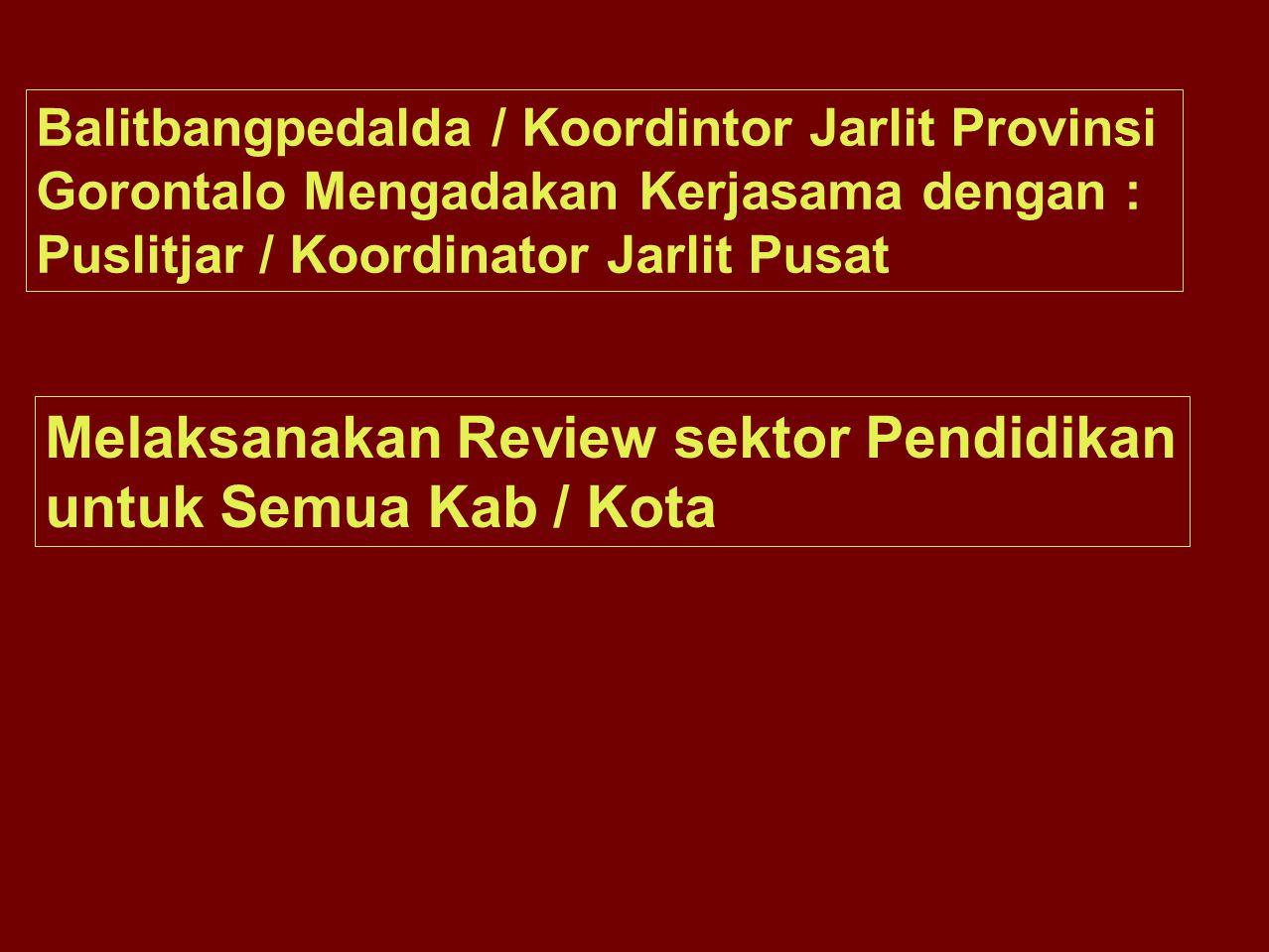 Balitbangpedalda / Koordintor Jarlit Provinsi Gorontalo Mengadakan Kerjasama dengan : Puslitjar / Koordinator Jarlit Pusat Melaksanakan Review sektor Pendidikan untuk Semua Kab / Kota