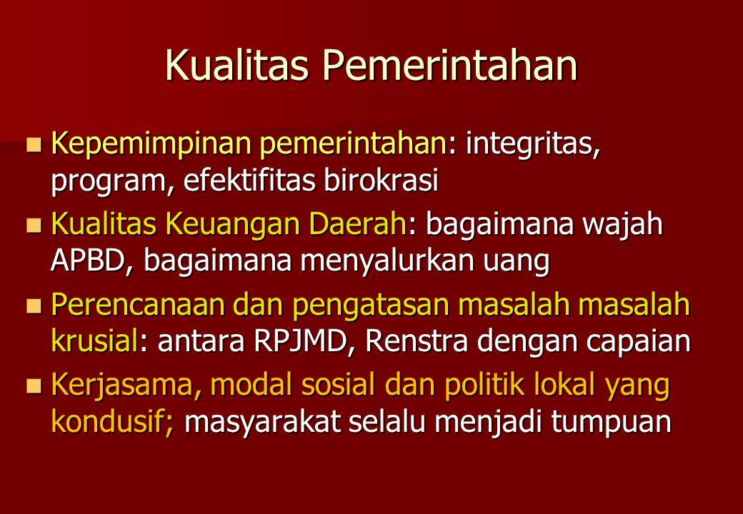 Kualitas Pemerintahan Kepemimpinan pemerintahan: integritas, program, efektifitas birokrasi Kepemimpinan pemerintahan: integritas, program, efektifita