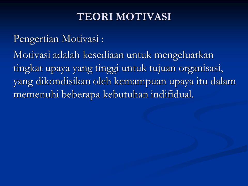 TEORI MOTIVASI Pengertian Motivasi : Motivasi adalah kesediaan untuk mengeluarkan tingkat upaya yang tinggi untuk tujuan organisasi, yang dikondisikan oleh kemampuan upaya itu dalam memenuhi beberapa kebutuhan indifidual.