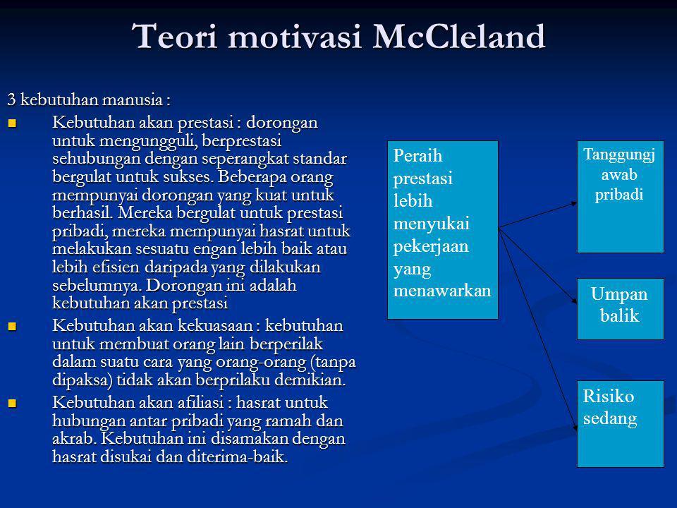 Teori motivasi McCleland 3 kebutuhan manusia : Kebutuhan akan prestasi : dorongan untuk mengungguli, berprestasi sehubungan dengan seperangkat standar bergulat untuk sukses.