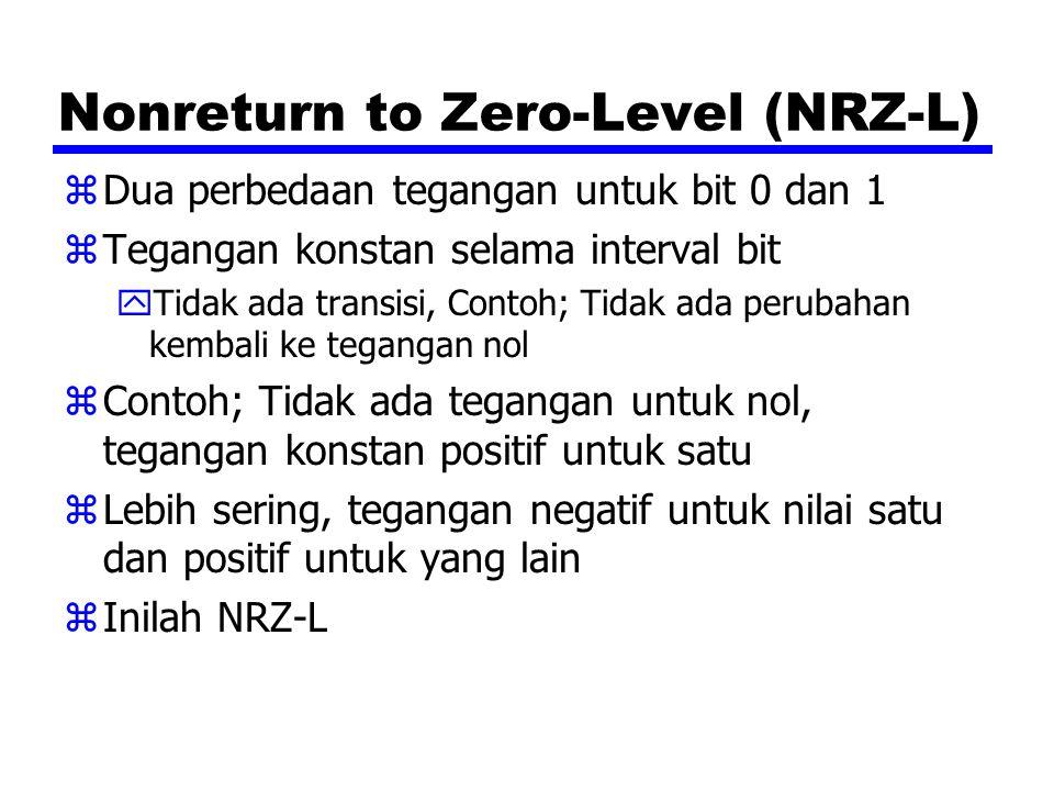 Nonreturn to Zero-Level (NRZ-L) zDua perbedaan tegangan untuk bit 0 dan 1 zTegangan konstan selama interval bit yTidak ada transisi, Contoh; Tidak ada