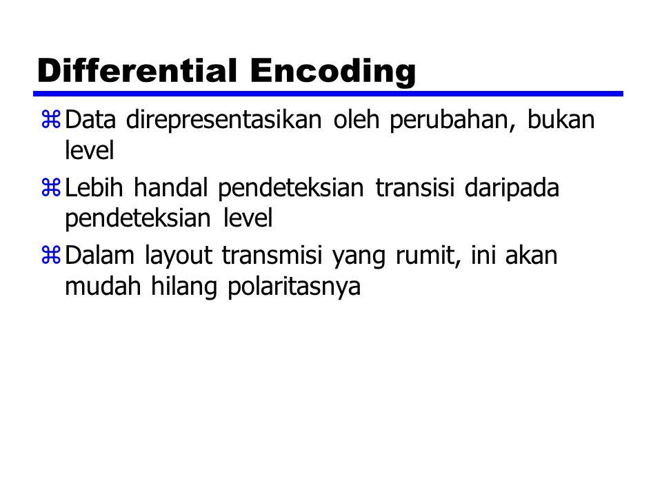 Differential Encoding zData direpresentasikan oleh perubahan, bukan level zLebih handal pendeteksian transisi daripada pendeteksian level zDalam layou