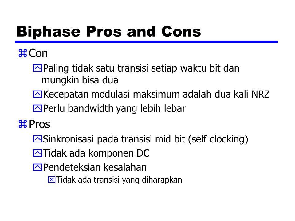 Biphase Pros and Cons zCon yPaling tidak satu transisi setiap waktu bit dan mungkin bisa dua yKecepatan modulasi maksimum adalah dua kali NRZ yPerlu b