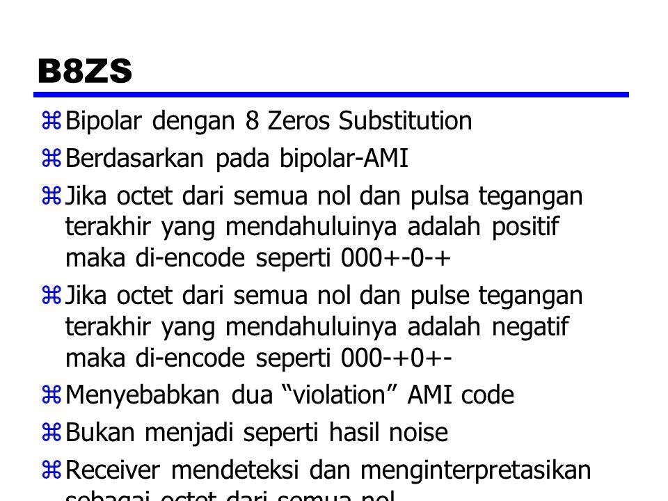 B8ZS zBipolar dengan 8 Zeros Substitution zBerdasarkan pada bipolar-AMI zJika octet dari semua nol dan pulsa tegangan terakhir yang mendahuluinya adal