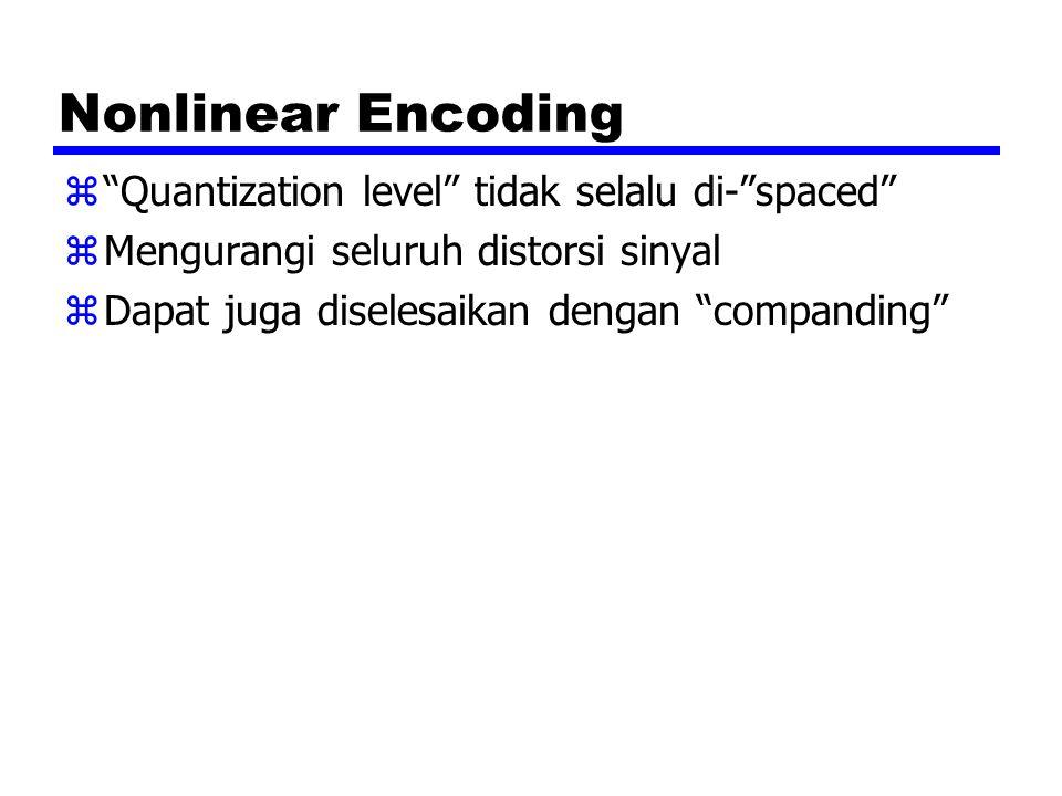 "Nonlinear Encoding z""Quantization level"" tidak selalu di-""spaced"" zMengurangi seluruh distorsi sinyal zDapat juga diselesaikan dengan ""companding"""