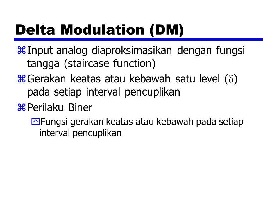Delta Modulation (DM) zInput analog diaproksimasikan dengan fungsi tangga (staircase function) zGerakan keatas atau kebawah satu level (  ) pada seti