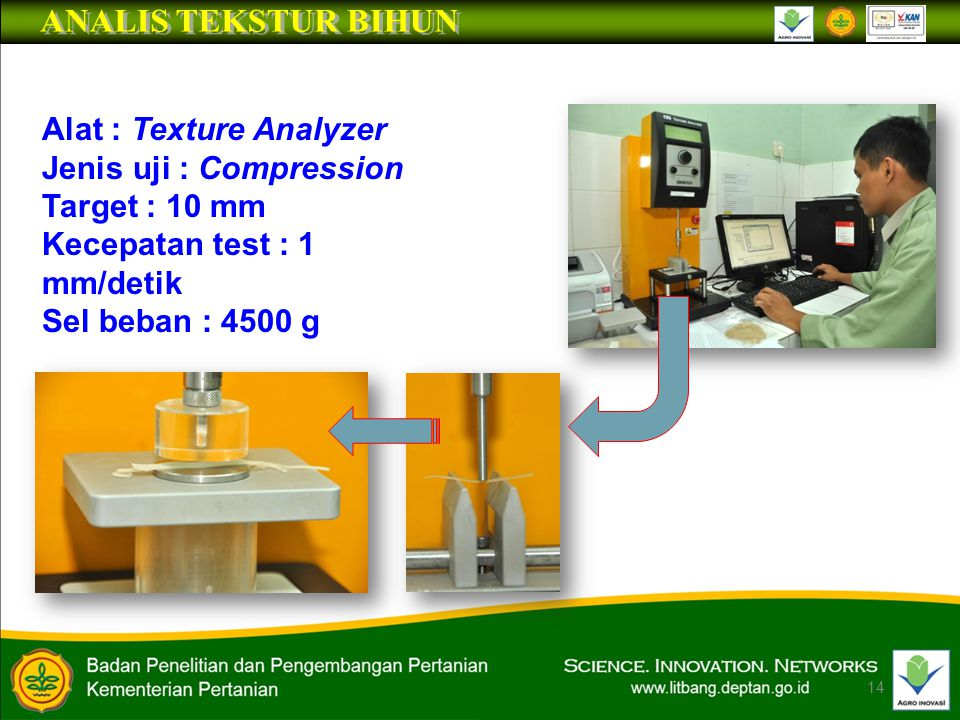 14 Alat : Texture Analyzer Jenis uji : Compression Target : 10 mm Kecepatan test : 1 mm/detik Sel beban : 4500 g