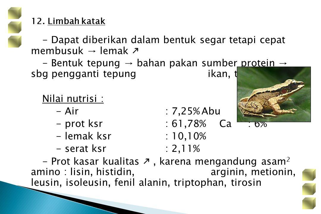 12. Limbah katak - Dapat diberikan dalam bentuk segar tetapi cepat membusuk → lemak  - Bentuk tepung → bahan pakan sumber protein → sbg pengganti tep
