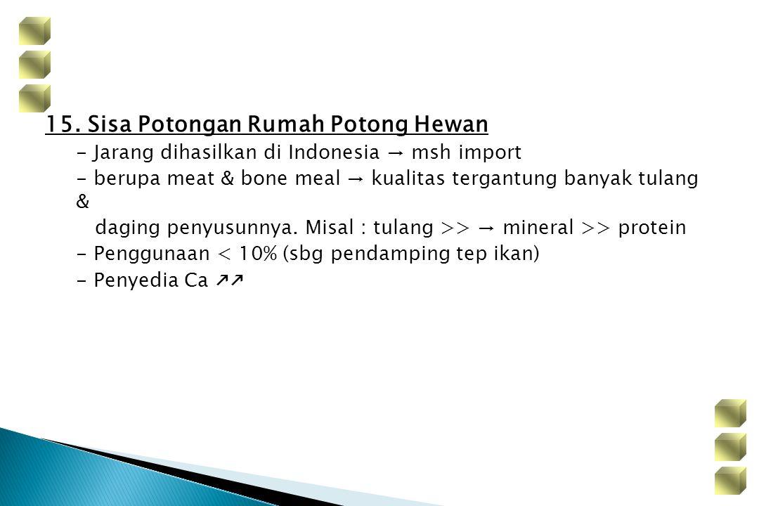 15. Sisa Potongan Rumah Potong Hewan - Jarang dihasilkan di Indonesia → msh import - berupa meat & bone meal → kualitas tergantung banyak tulang & dag