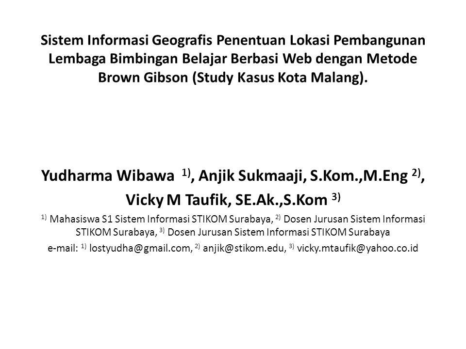 Sistem Informasi Geografis Penentuan Lokasi Pembangunan Lembaga Bimbingan Belajar Berbasi Web dengan Metode Brown Gibson (Study Kasus Kota Malang). Yu