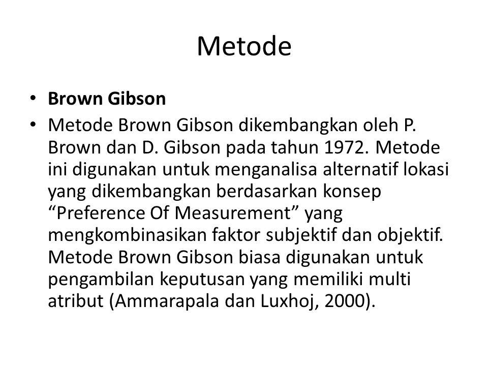 Metode Brown Gibson Metode Brown Gibson dikembangkan oleh P. Brown dan D. Gibson pada tahun 1972. Metode ini digunakan untuk menganalisa alternatif lo