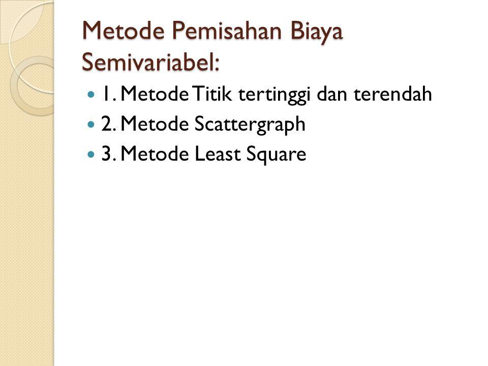 Metode Pemisahan Biaya Semivariabel: 1. Metode Titik tertinggi dan terendah 2. Metode Scattergraph 3. Metode Least Square