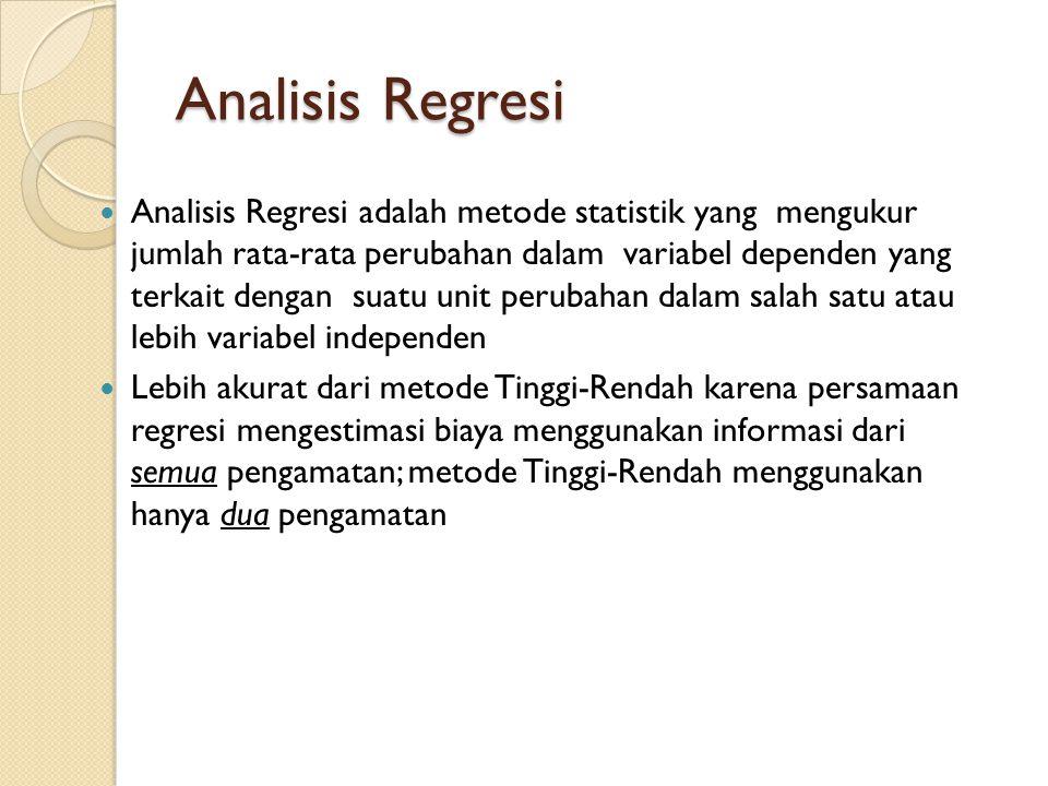 Analisis Regresi Analisis Regresi adalah metode statistik yang mengukur jumlah rata-rata perubahan dalam variabel dependen yang terkait dengan suatu u
