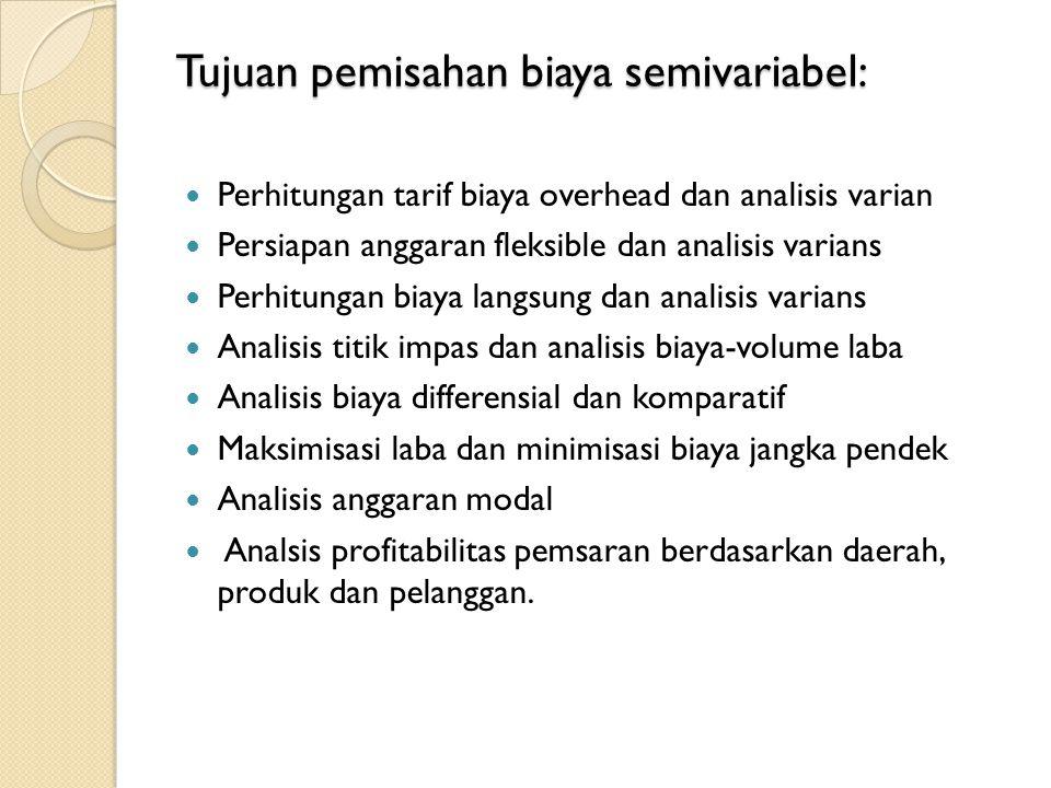 Tujuan pemisahan biaya semivariabel: Perhitungan tarif biaya overhead dan analisis varian Persiapan anggaran fleksible dan analisis varians Perhitungan biaya langsung dan analisis varians Analisis titik impas dan analisis biaya-volume laba Analisis biaya differensial dan komparatif Maksimisasi laba dan minimisasi biaya jangka pendek Analisis anggaran modal Analsis profitabilitas pemsaran berdasarkan daerah, produk dan pelanggan.