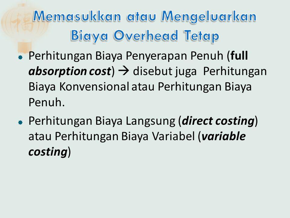  Perhitungan Biaya Penyerapan Penuh (full absorption cost)  disebut juga Perhitungan Biaya Konvensional atau Perhitungan Biaya Penuh.  Perhitungan