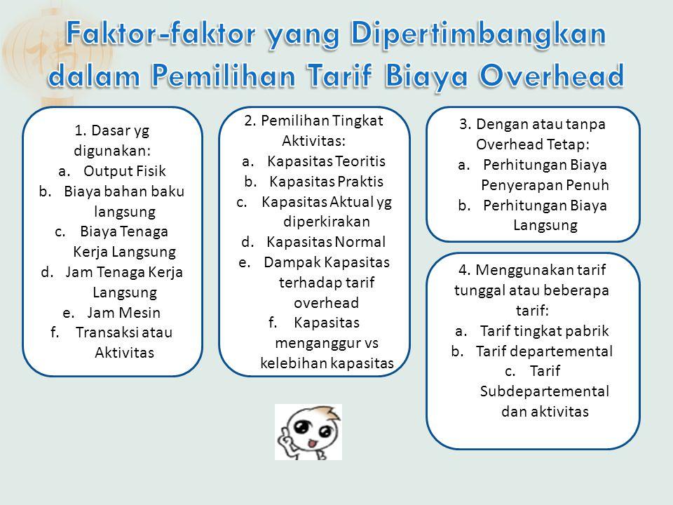  Faktor yg diukur sebagai denominator dari tarif overhead.