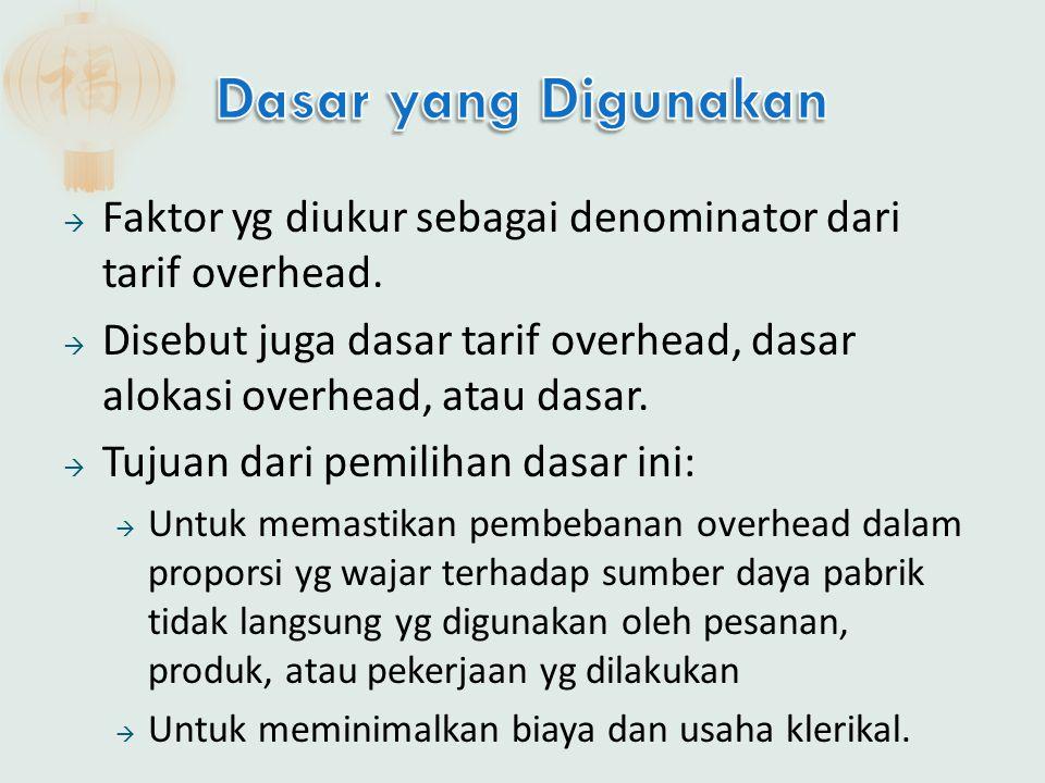  Faktor yg diukur sebagai denominator dari tarif overhead.  Disebut juga dasar tarif overhead, dasar alokasi overhead, atau dasar.  Tujuan dari pem