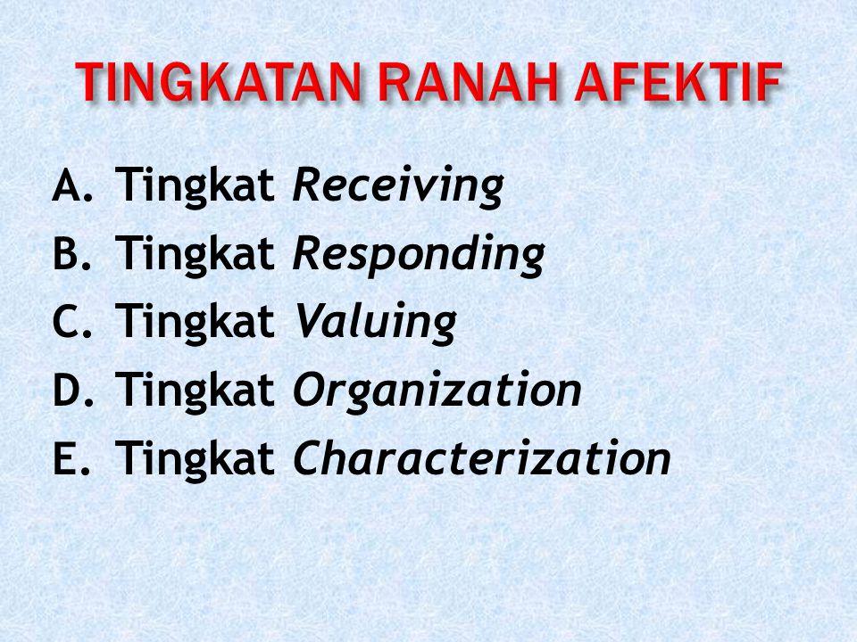 A. Tingkat Receiving B. Tingkat Responding C. Tingkat Valuing D. Tingkat Organization E. Tingkat Characterization