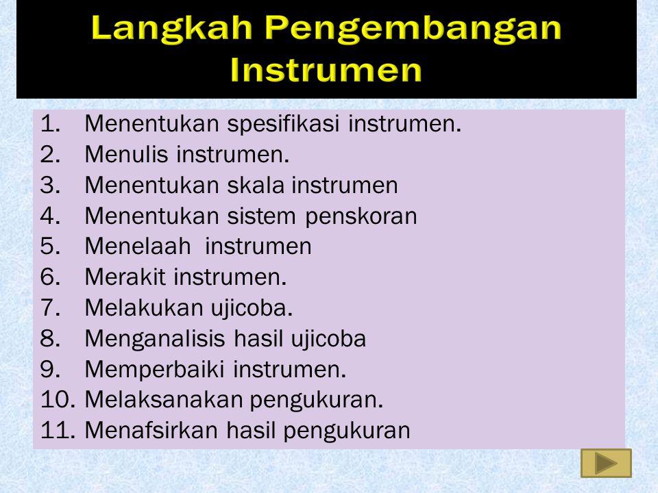 1. Menentukan spesifikasi instrumen. 2. Menulis instrumen. 3. Menentukan skala instrumen 4. Menentukan sistem penskoran 5. Menelaah instrumen 6. Merak