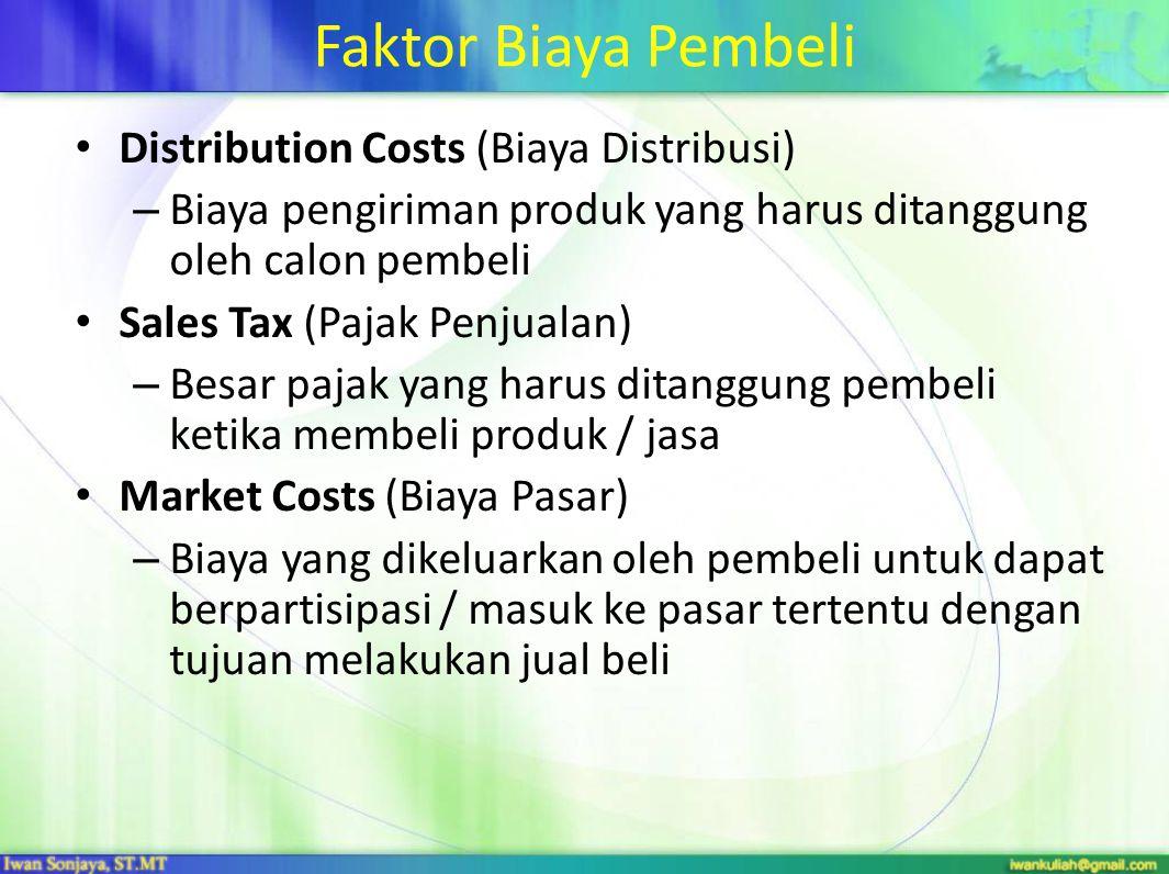 Faktor Biaya Pembeli Distribution Costs (Biaya Distribusi) – Biaya pengiriman produk yang harus ditanggung oleh calon pembeli Sales Tax (Pajak Penjualan) – Besar pajak yang harus ditanggung pembeli ketika membeli produk / jasa Market Costs (Biaya Pasar) – Biaya yang dikeluarkan oleh pembeli untuk dapat berpartisipasi / masuk ke pasar tertentu dengan tujuan melakukan jual beli