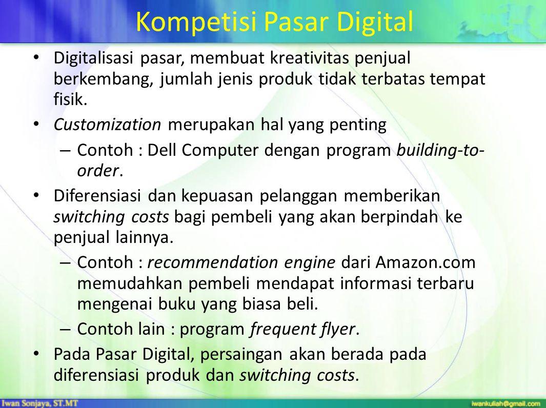 Kompetisi Pasar Digital Digitalisasi pasar, membuat kreativitas penjual berkembang, jumlah jenis produk tidak terbatas tempat fisik.