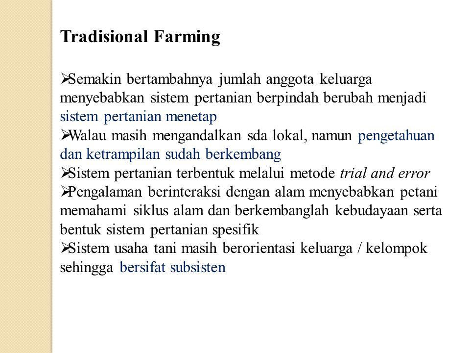 Tradisional Farming  Semakin bertambahnya jumlah anggota keluarga menyebabkan sistem pertanian berpindah berubah menjadi sistem pertanian menetap  W