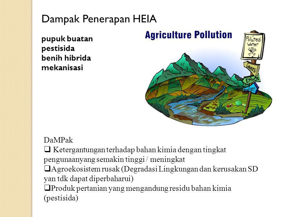 Dampak Penerapan HEIA pupuk buatan pestisida benih hibrida mekanisasi DaMPak  Ketergantungan terhadap bahan kimia dengan tingkat pengunaanyang semaki