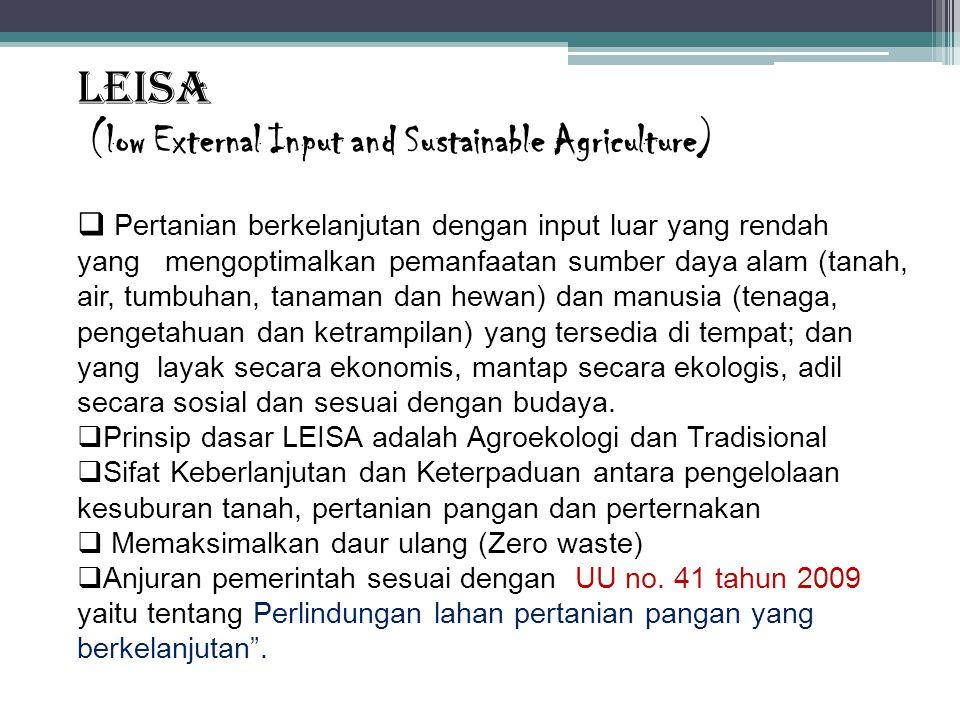 LEISA (low External Input and Sustainable Agriculture)  Pertanian berkelanjutan dengan input luar yang rendah yang mengoptimalkan pemanfaatan sumber