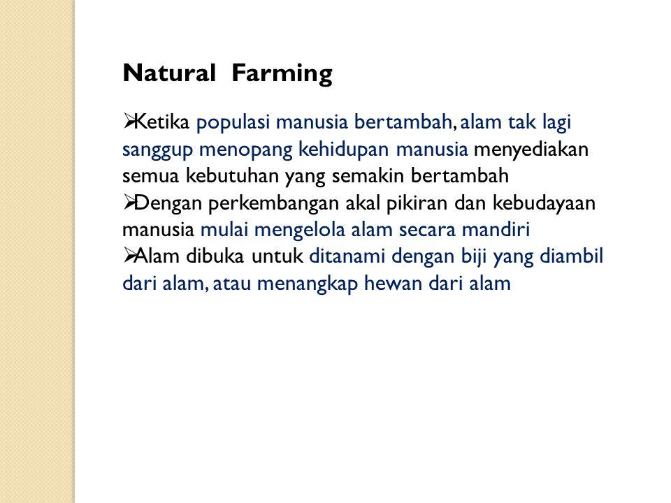 Natural Farming  Ketika populasi manusia bertambah, alam tak lagi sanggup menopang kehidupan manusia menyediakan semua kebutuhan yang semakin bertamb