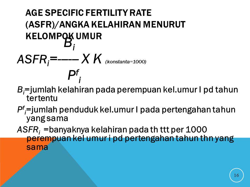 AGE SPECIFIC FERTILITY RATE (ASFR)/ANGKA KELAHIRAN MENURUT KELOMPOK UMUR 16 B i ASFR i =------ X K (konstanta=1000) P f i B i =jumlah kelahiran pada p