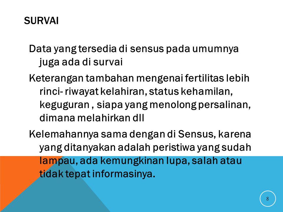 SURVAI 8 Data yang tersedia di sensus pada umumnya juga ada di survai Keterangan tambahan mengenai fertilitas lebih rinci- riwayat kelahiran, status k