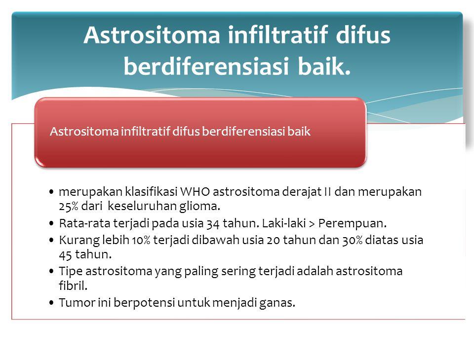 merupakan klasifikasi WHO astrositoma derajat II dan merupakan 25% dari keseluruhan glioma. Rata-rata terjadi pada usia 34 tahun. Laki-laki > Perempua