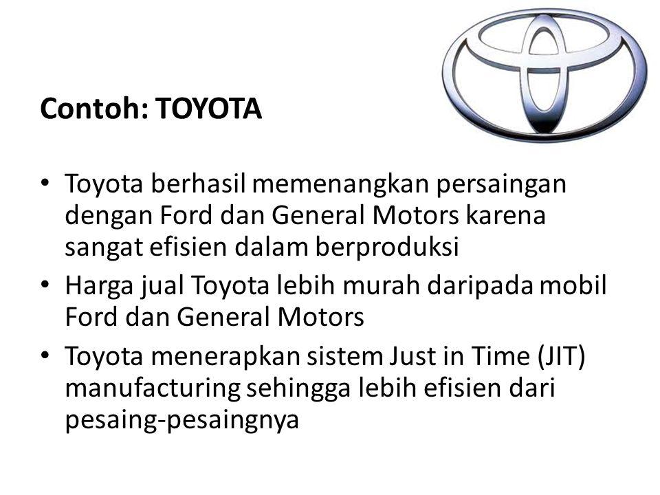 Contoh: TOYOTA Toyota berhasil memenangkan persaingan dengan Ford dan General Motors karena sangat efisien dalam berproduksi Harga jual Toyota lebih m