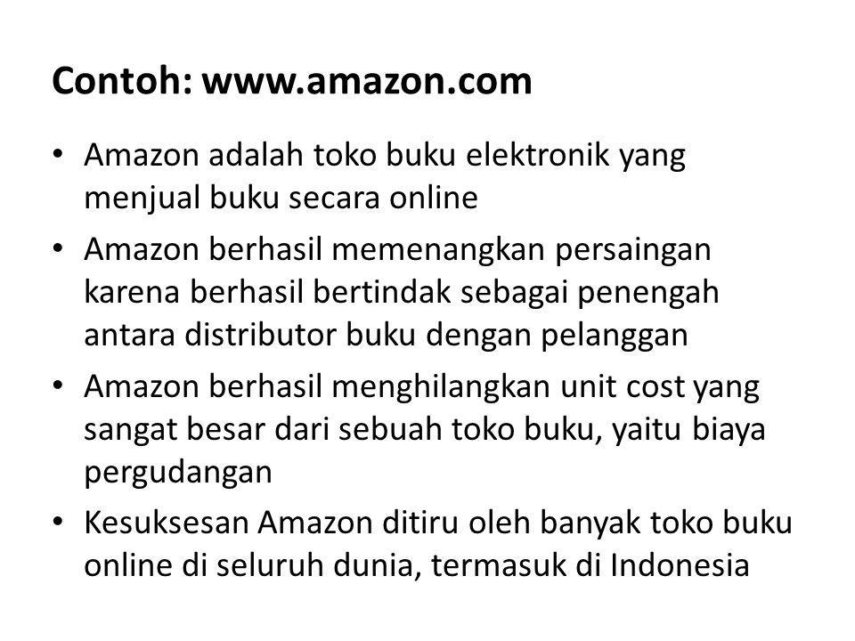 Contoh: www.amazon.com Amazon adalah toko buku elektronik yang menjual buku secara online Amazon berhasil memenangkan persaingan karena berhasil berti