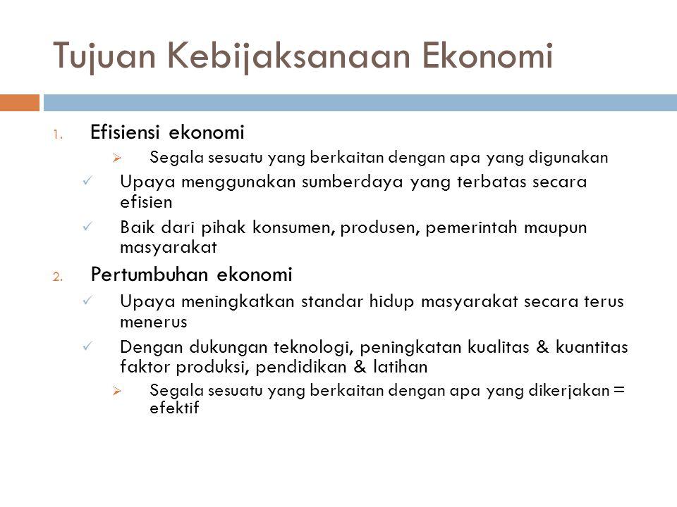 Tujuan Kebijaksanaan Ekonomi 1.