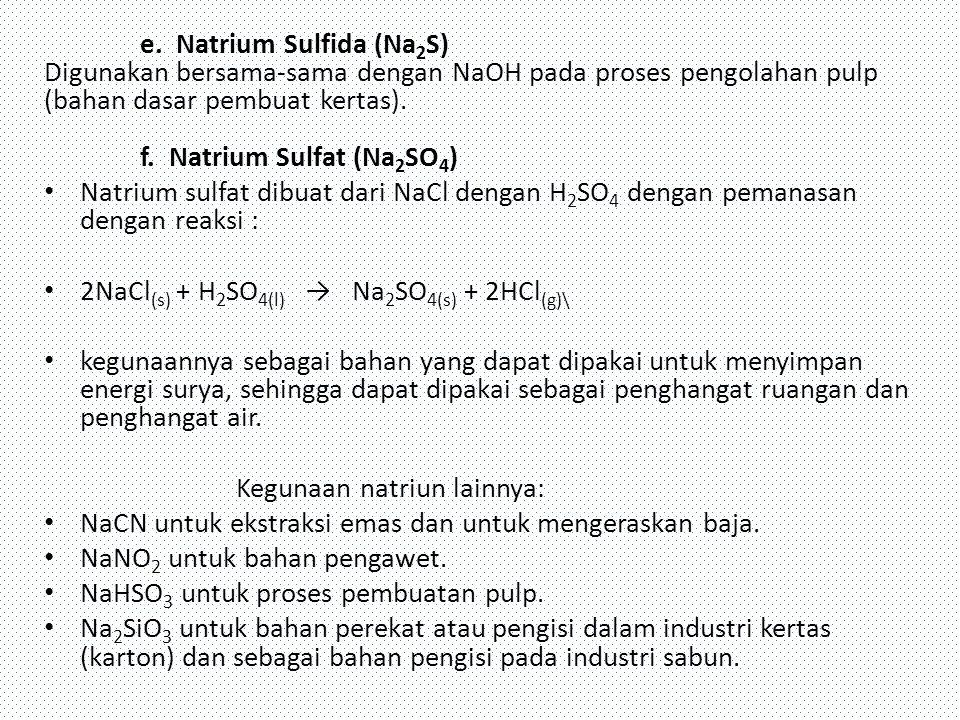 e. Natrium Sulfida (Na 2 S) Digunakan bersama-sama dengan NaOH pada proses pengolahan pulp (bahan dasar pembuat kertas). f. Natrium Sulfat (Na 2 SO 4