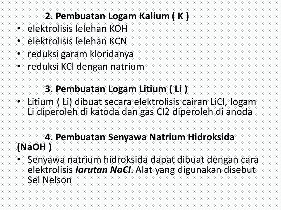 2. Pembuatan Logam Kalium ( K ) elektrolisis lelehan KOH elektrolisis lelehan KCN reduksi garam kloridanya reduksi KCl dengan natrium 3. Pembuatan Log