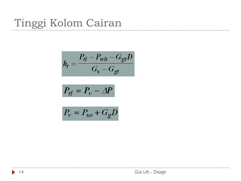 Tinggi Kolom Cairan Gas Lift - Design14