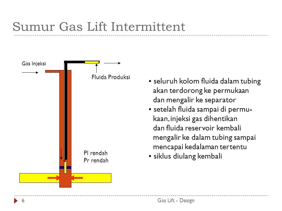 Sumur Gas Lift Intermittent Gas Lift - Design6 seluruh kolom fluida dalam tubing akan terdorong ke permukaan dan mengalir ke separator setelah fluida sampai di permu- kaan, injeksi gas dihentikan dan fluida reservoir kembali mengalir ke dalam tubing sampai mencapai kedalaman tertentu siklus diulang kembali Gas Injeksi PI rendah Pr rendah Fluida Produksi