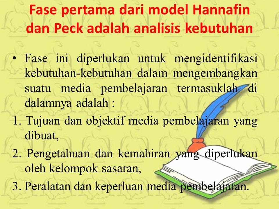 Fase pertama dari model Hannafin dan Peck adalah analisis kebutuhan Fase ini diperlukan untuk mengidentifikasi kebutuhan-kebutuhan dalam mengembangkan suatu media pembelajaran termasuklah di dalamnya adalah : 1.
